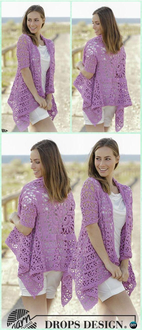 Crochet Lilac Dream Lace Square Jacket Free Pattern - Crochet Granny Square Jacket Coat Free Patterns