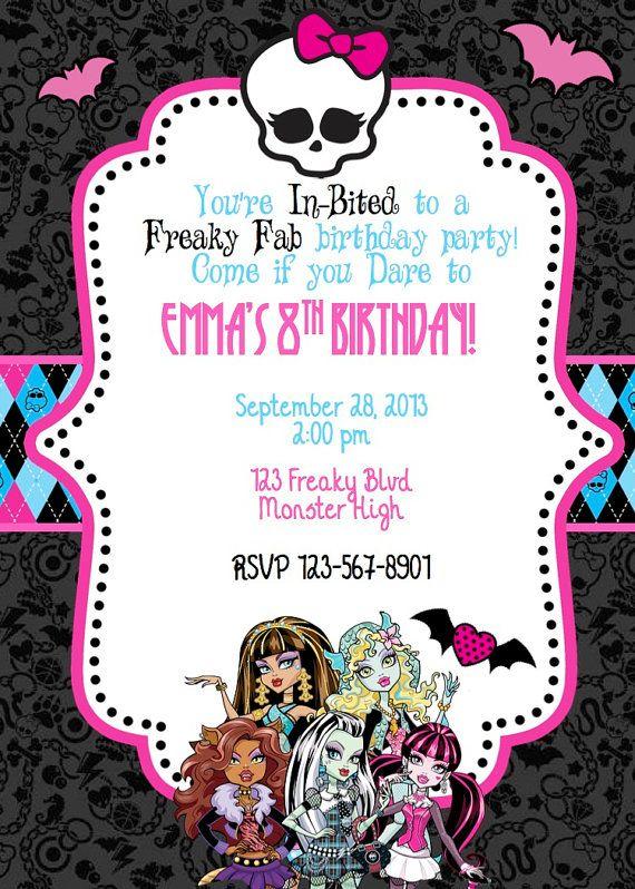 Monster HIgh Birthday Invite by ckfireboots on Etsy, $10.00