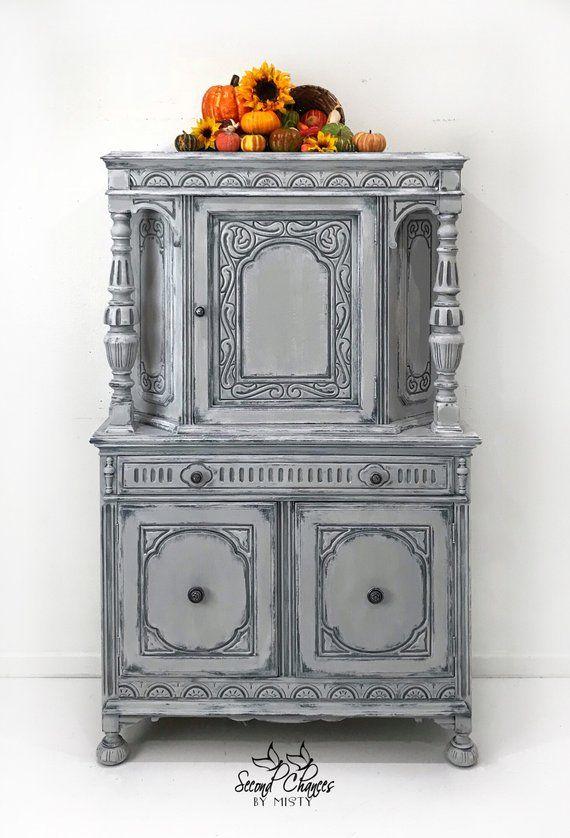 China Hutch Cabinet Jacobean Furniture Liquor Dining Room