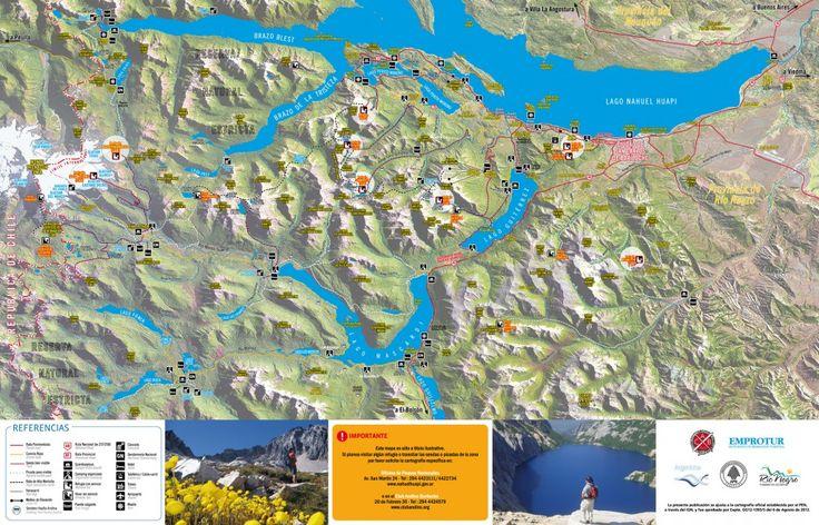Mapa de refugios del Club Andino Bariloche, diciembre 2012