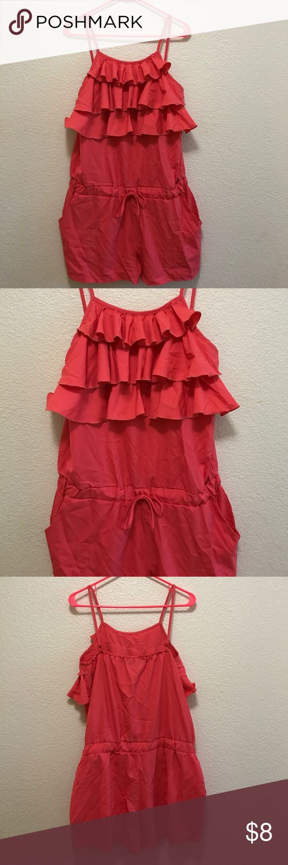 New no tags size M coral romper New no tags great for summer nice color Allegra K Pants Jumpsuits & Rompers