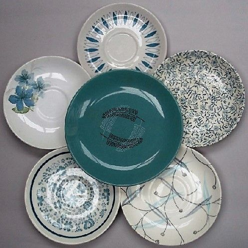 Crown Lynn Plate Flower in Blues