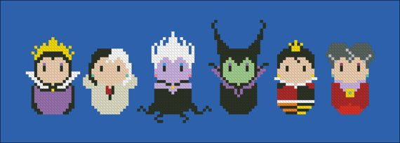 Disney evil villains chibi NEW VERSION  - PDF  cross stitch pattern