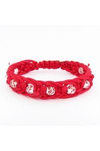 Náramok pletený červený keramický