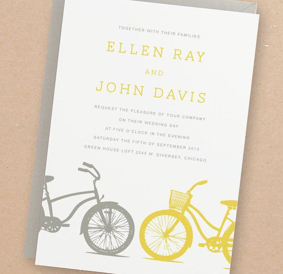 "DIY~ ""Yellow Bike"" Printable Wedding Invitation Suite   