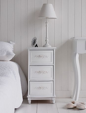 The White Cottage bedside tables, range of sizes and styles for your country cottage bedroom. The white rose bedside cabinet with three drawers.