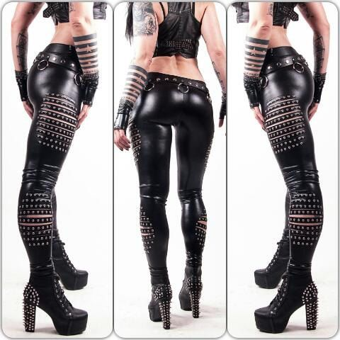Death Pants - Studded WETLOOK Fauxleather Leggings Biker Gothic Heavy Metal Blackmetal Deathmetal Deathrock New Rock Pants Tights Hot Sexy