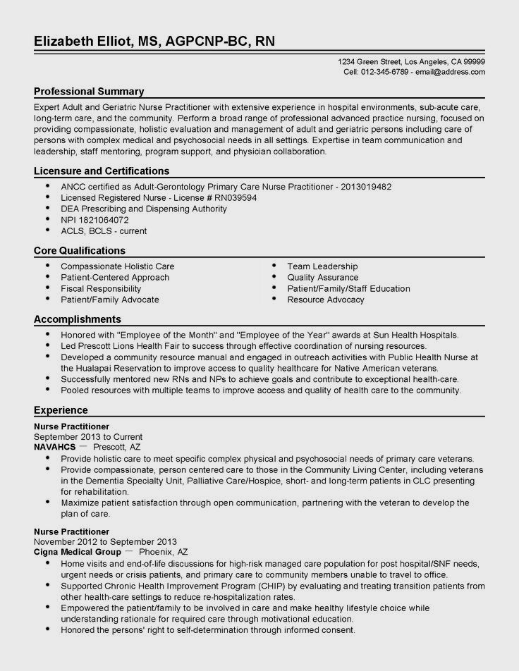 resume examples for family nurse practitioner