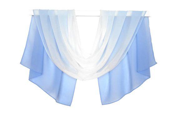 silk scarf chiffon sky blue ombre scarf  by AnnushkaHomeDecor