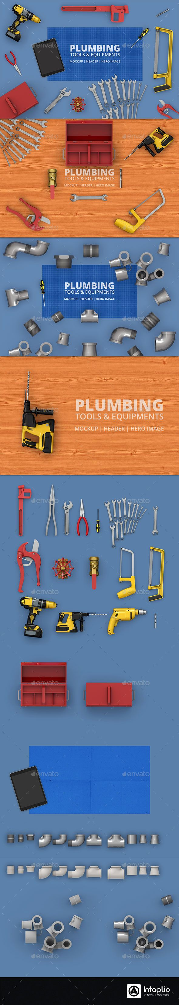 Plumbing Tools & Equipment's Mockup | Hero Image - Hero Images Graphics