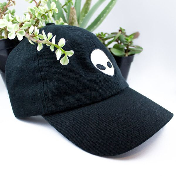 Alien Baseball cap hat Black Space Science Fiction Tumblr Grunge... ($35) ❤ liked on Polyvore featuring accessories, hats, ball cap hats, ball caps, baseball cap, gothic hats and baseball hat