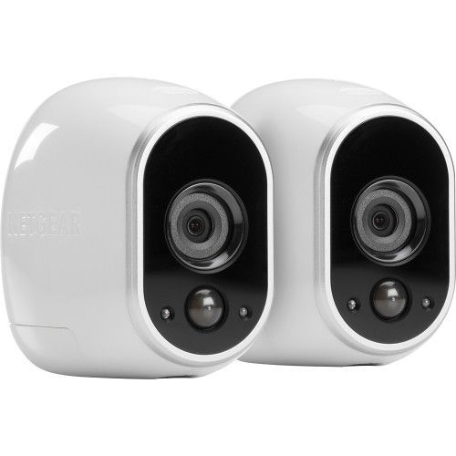 NETGEAR - Arlo Smart Home Indoor/Outdoor Wireless High-Definition IP Security Cameras (2-Pack) - White/Black - Angle Zoom