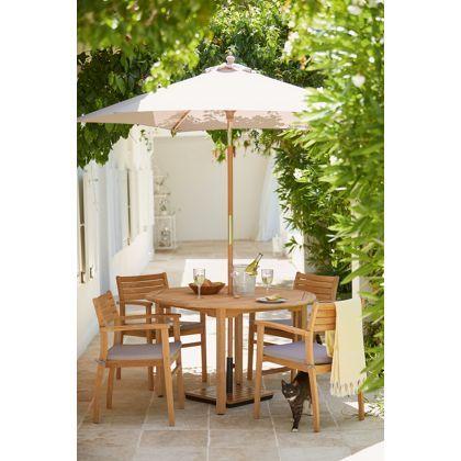 malmo 4 seater round teak garden furniture set