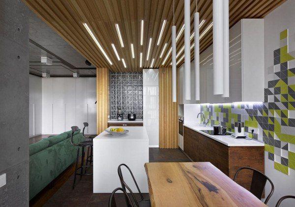Отличная идея сочетания краски и штукатурки, реализованная в квартире на Украине.   Сергей Махно и архитекторы работали с домовладельцами, которые являются одновременно современным и независимым авторами этого современного украинского дизайна квартиры. Охватывая 80 квадратных метров, квартира чувствует себя уютно и вмещает с его бетонным стилем стену из гипса, продолжающей часть потолка. Темно-ореховые полы завершают внешний вид, который определяется промышленной атмосферой.  Главное…