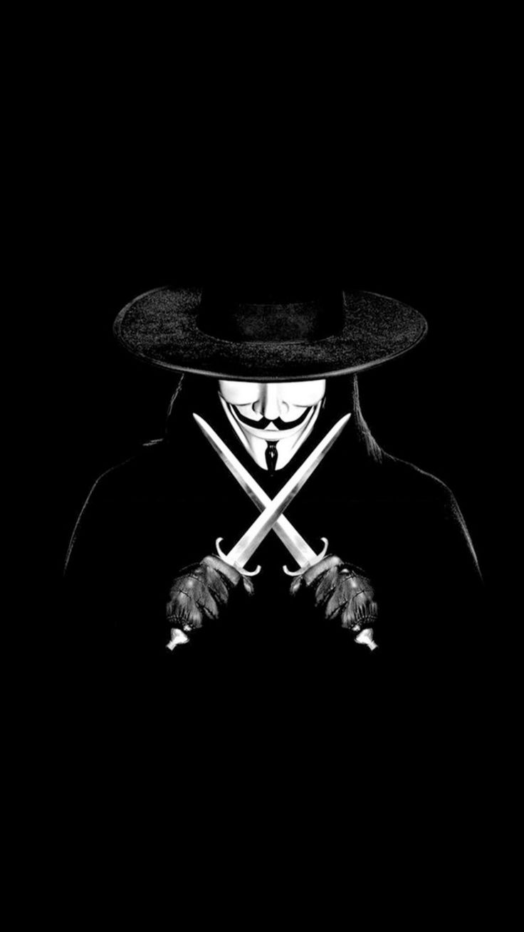 Wallpaper iphone gelap - V For Vendetta Man With Knifes Iphone 6 Plus Wallpaper