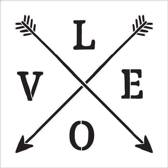 Amor  flechas cruzadas rústico  Word Art Stencil  por StudioR12