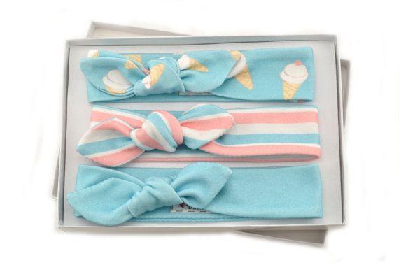 Baby Girl Headband Set/ Set of 3 Headbands/Organic Baby Headbands/Knotted Headbands/ Ice Cream Cones/Stripes/ Solid Headbands. This