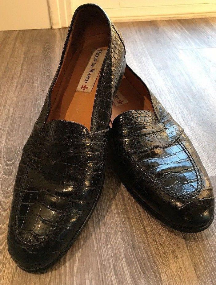 Paolo De Marco Mens Black Alligator Loafer Dress Shoes Size 16 M