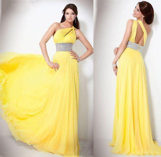 Yellow Unique design Prom Dresses