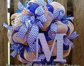 School Spirit Wreath / Sports / School Colors / Burlap / Mesh / Chevron / Royal Blue
