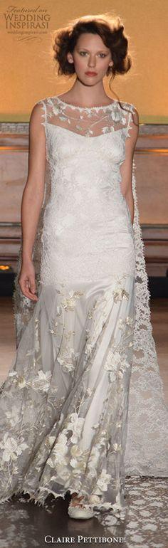 New York Bridal Fashion Week Day 1: Claire Pettibone Fall 2016 Wedding Dress #weddingdress #weddingdresses #bridal #nybfw #nybm #bfw #newyorkbridalmarket #newyorkbridalfashionweek #newyorkbridalweek #runway #fashionshow #sheathweddingdress #runway