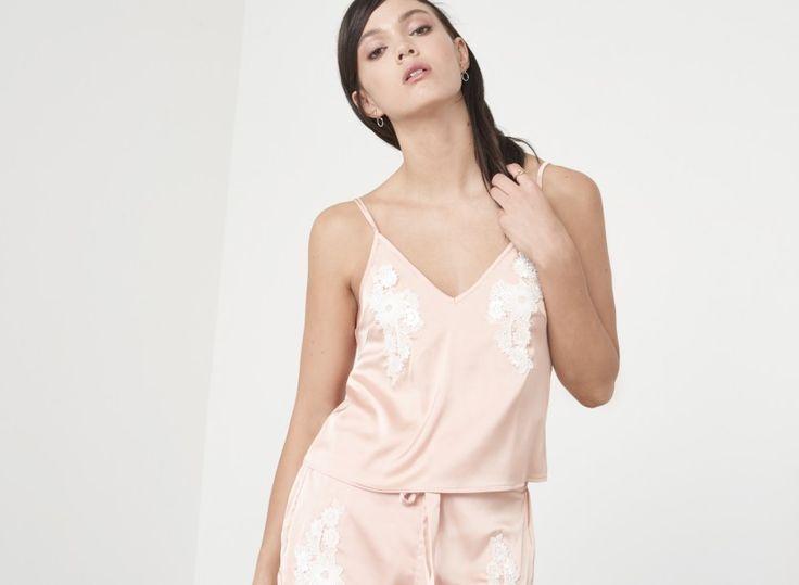 Nude Satin & White Crochet Cami Pyjama Top