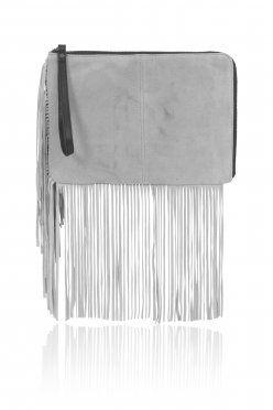 Grey Suede Fringe Detail Clutch Bag