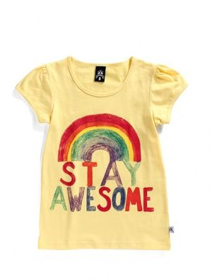 Buy Littlehorn Stay Awesome Tee Yellow
