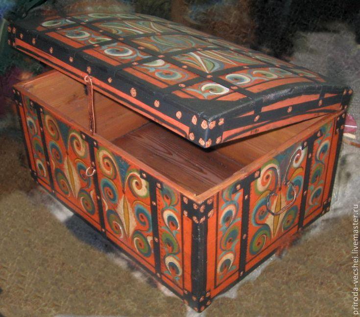 Купить Сундук со сказками - деревенский стиль, дерево, Роспись по дереву, краски, металлическая фурнитура