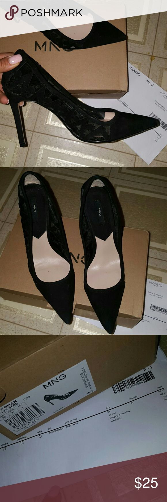 MANGO heels Black Suede Mango Heels Size 6, fits 6.5 and 7. Perfect condition. Worn once. With box and receipt Mango Shoes Heels