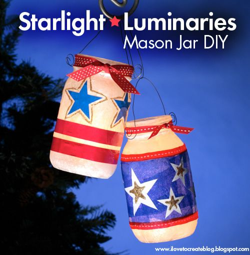 Starlight Luminaries-Designed and Decorated by Cheryl Ball-  Materials  – Tulip® 3D Fashion Paint™ in 65088 Gold  – Collage Pauge® Instant Decoupage  – Aleene's® Quick Dry Tacky Glue™  – Foil  – Wire  – Scissors  – Wax paper  – Tissue paper or light cardstock, red, white, & blue  – Glass mason jars  – Plastic