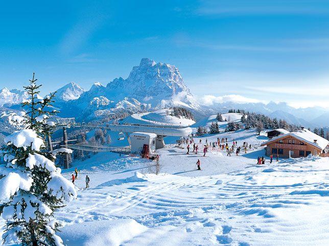 Beautiful Mountains in Italia! Ski Resort Selva Val Gardena  Set in the stunning Dolomites mountain range, offers Italian exuberance, guaranteed snow on the Marmalada Glacier & endless skiing