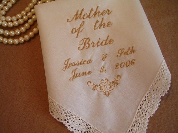 Mother of the Bride Handkerchief Hankie by EmbroiderybyCathy, $18.99