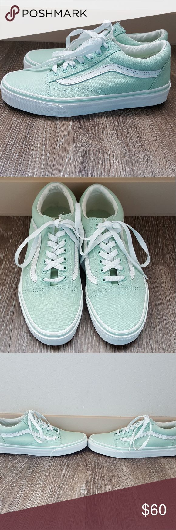 New  Vans old skool sneakers in mint green Vans limited edition  original old skool sneakers in mint green with white stripe brand new without tag used only as store display size 8 womans or mens 6.5 this is the perfect summer sneakers they are the classic look you love with a splash of pastel color fpr summer! Vans Shoes Sneakers