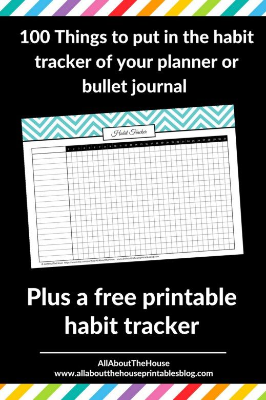 100 things to put in your habit tracker of your planner or ...