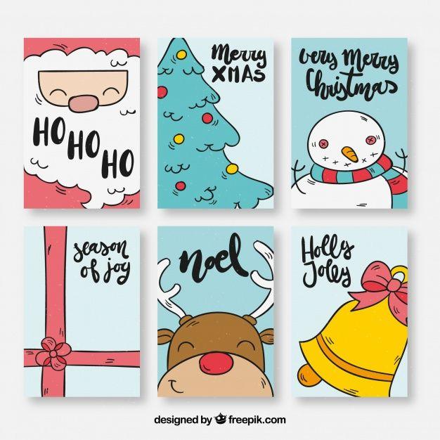 Pack de seis tarjetas de navidad con dibujos  Vector Gratis