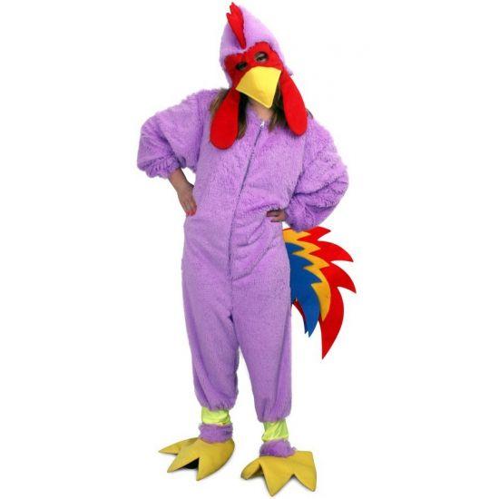 Onesie paarse kip. Onesie kostuum van een paarse kip gemaakt van pluche. Het kostuum is geschikt voor volwassenen.