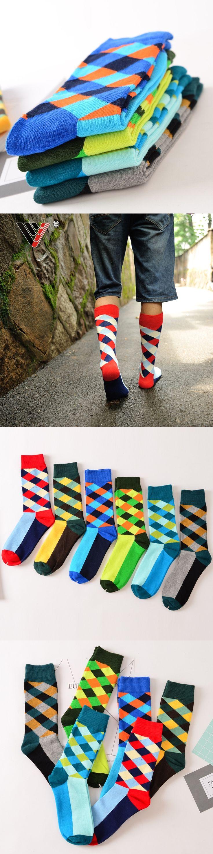 2017 New Brand socks British Style Plaid Socks Gradient Color High Quality Men's Cotton argyle Socks SIZE: EUR 40-45