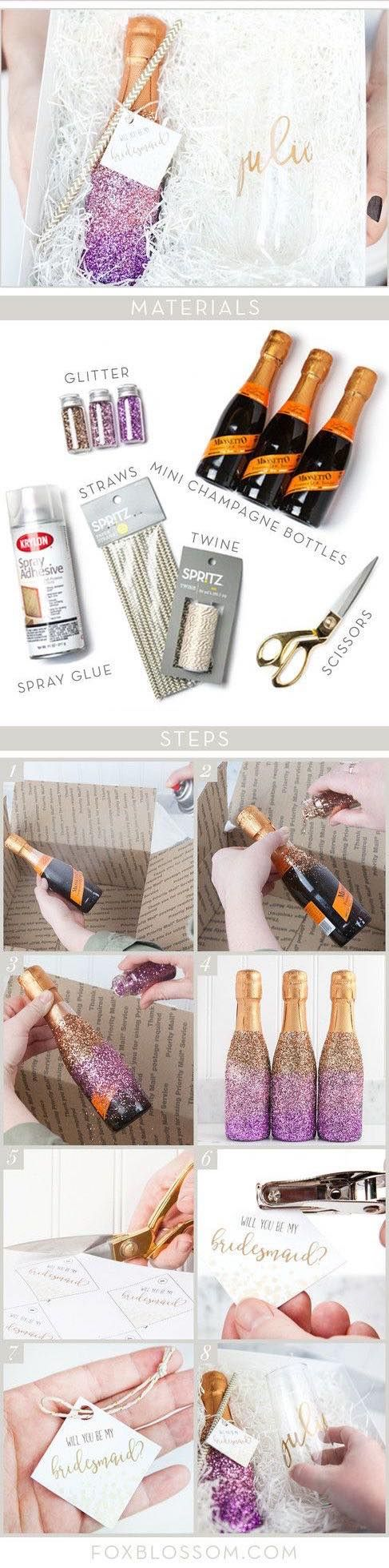 DIY glitter champagne bridesmaid proposal box! Are you ready to pop the question?