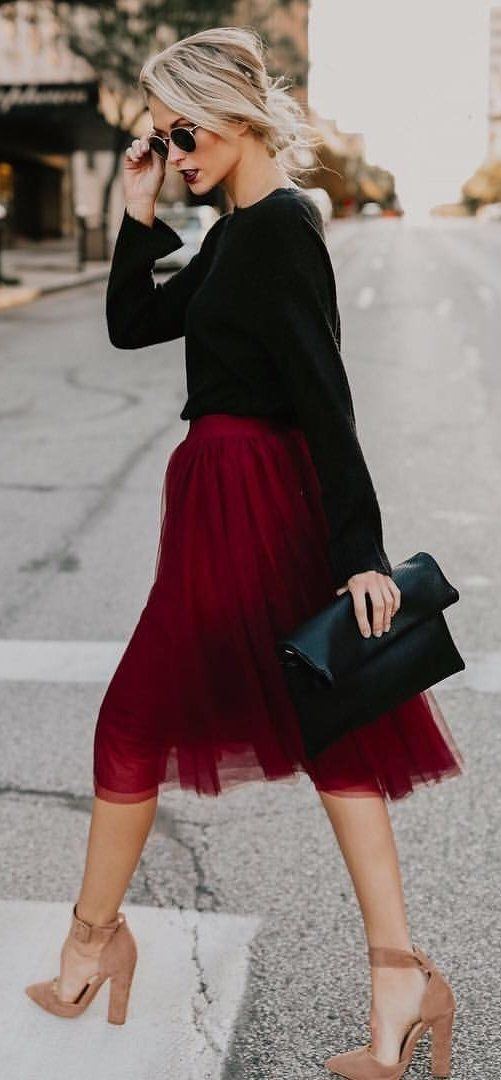 #fall #outfits  black and red lace skirt long sleeve dress