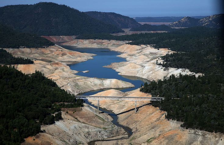 A section of Lake Oroville is seen nearly dry on August 19, 2014 in Oroville, California. As the severe drought in California continues for a third straight year, water levels in the State's lakes and reservoirs are reaching historic lows. Lake Oroville is currently at 32 percent of its total 3,537,577 acre feet. (Justin Sullivan/Getty Images) - In Focus - The Atlantic