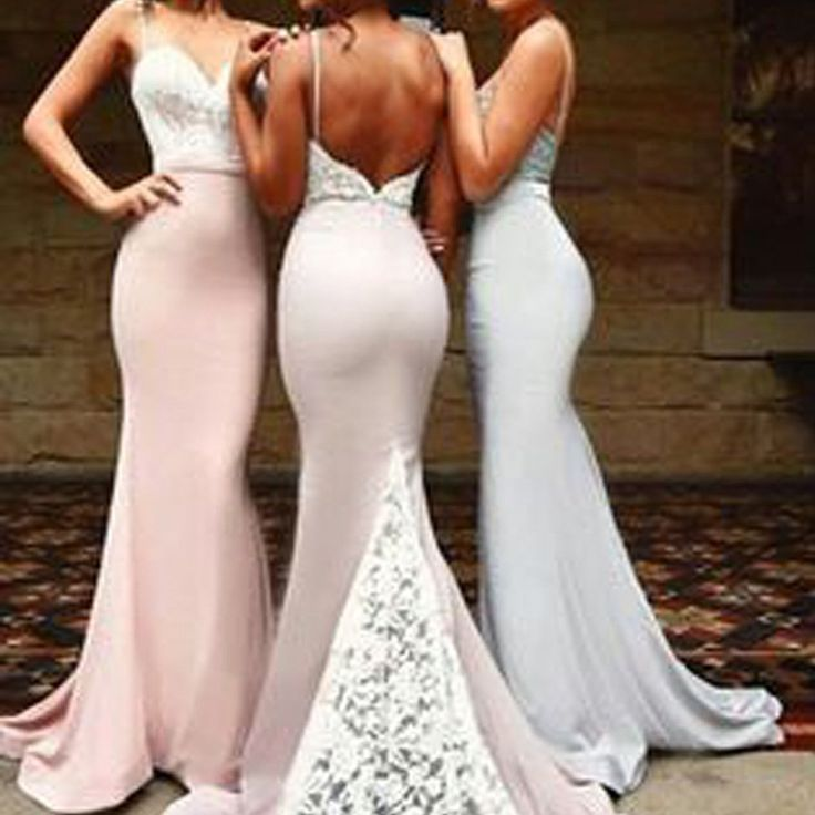 Sexy Mermaid Sweet Heart Open Back Lace Inexpensive Long Bridesmaid Dr – SposaDesses