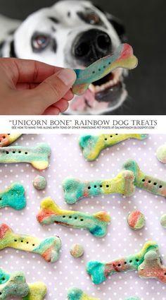 "DIY Dog Treat Recipes + Instructions: Homemade ""Unicorn Bone"" Rainbow Marbled Dog Treats - so colorful and tasty."
