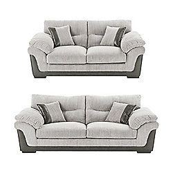 Kendal 3 Seater 2 5 Seater Jumbo Cord Sofa Set Light Grey Sofa Sofa Set House Inspo