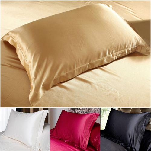 Silk Pillowcase Camel White Black Silk Satin Pillow Case Multiple Colors, 48*74 cm #Affiliate