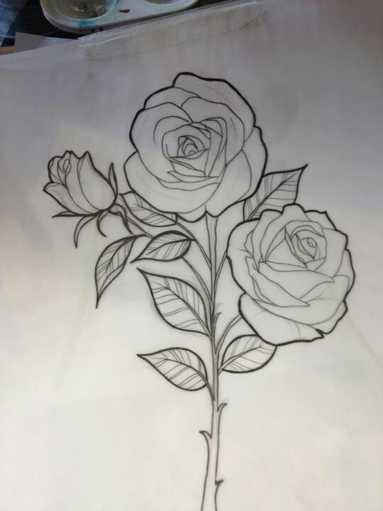 Miss jo black rose sketch beautiful art pinterest for Rose with stem tattoo designs