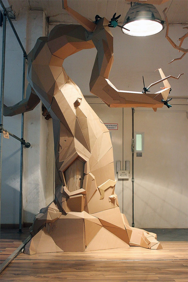Cardboard Tree. Isn't cardboard a fascinating medium?