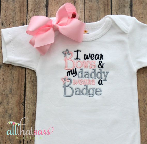 Baby Girls Embroidered Police Bodysuit  - Officer - Daddy - Baby Shower Gifts - Creeper - Outfit