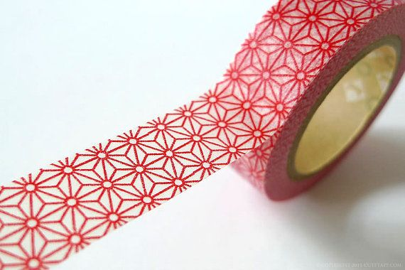 Red star washi tape in traditional japanese pattern. These are Japanese mt Washi Masking Tape made of washi paper. This is perfect for creative