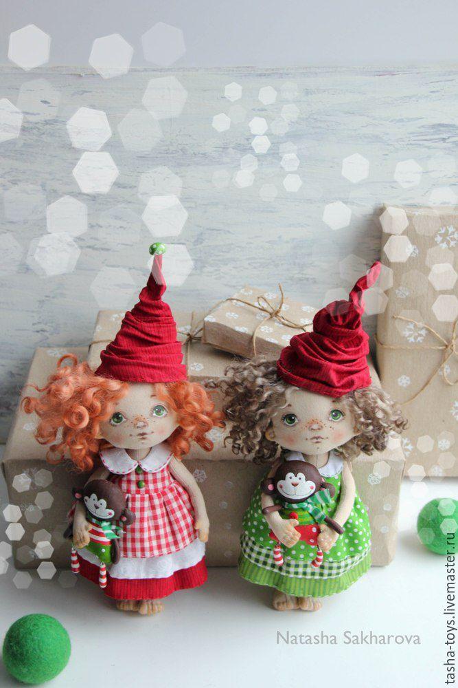 Купить Новогодние Гномочки. - зеленый, красный, Новый Год, гномочка, украшение для интерьера, интерьерная кукла